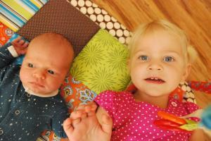 My blue eyed girl & little alert boy