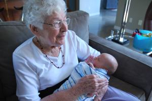 Nana holds Mr. Asher Keith