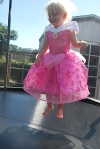 Princess jumping on her new trampoline