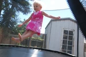 "A ""seat drop"" on her new trampoline"