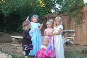 Selah surrounded by her princesses!